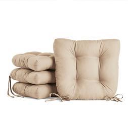 "Set of 4 Chair Cushion Seat 14.5"" Ties Outdoor Patio Pad Gar"
