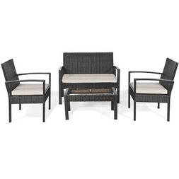 Topbuy Set of 4 Patio Rattan Table Chair Set Cushioned Seat