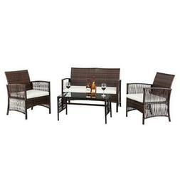 Sofa sets 4 PC Outdoor Patio Furniture Sets Rattan Chair Bac