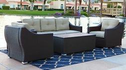South Beach 4 Piece Deep Seating Set Outdoor Patio Furniture
