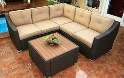 South Beach 6 Piece Sectional Set Outdoor Patio Furniture Wi
