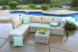 South Isle 7 Piece Deep Seating Sectional Set Outdoor Patio