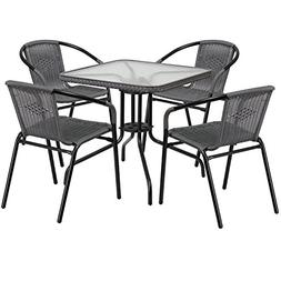 """Flash Furniture 28"""" Square Glass Metal Table with Gray Ratta"""