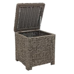 Square Wicker Outdoor Patio Accent Table W/ Captured Glass T