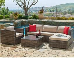 SUNCROWN Patio Furniture Sectional Sofa and Chair  All-Weath
