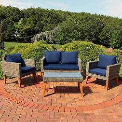 Sunnydaze Clifdon 4-Piece Patio Furniture Set - Rattan and A