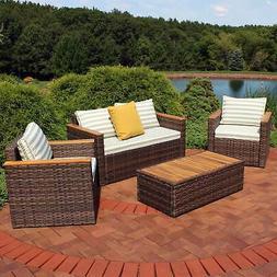 Sunnydaze Kenmare 4-Piece Patio Furniture Set - Rattan and A