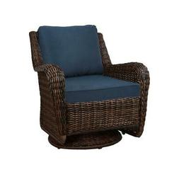 Swivel Outdoor Rocking Chair W/ Blue Cushions Cambridge Brow