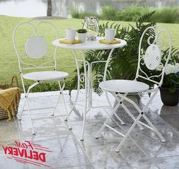 Outdoor Folding Bistro Set 3 Piece Table & Chairs Backyard P
