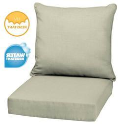 Outdoor Deep Seat Chair Patio Cushions Set Tan Pad UV Resist