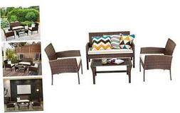 Tangkula Brown 4PCS Patio Rattan Furniture Converstation Set