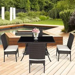 Tangkula Patio Furniture, 5 PCS All Weather Resistant Heavy