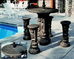 Tiki Table Set - Outdoor Concrete Garden Furniture Patio Set