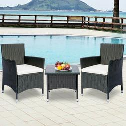 TOPMAX 3 Piece Rattan Wicker Patio Furniture Bistro Sets w/