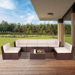 U-Max 7 Piece Outdoor Patio Furniture Set, Pe Rattan Wicker