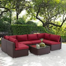 U-MAX 7 Pieces Outdoor Patio Furniture Set, All Weather Brow