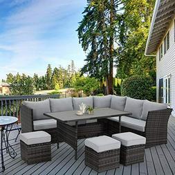 U-MAX 7 Pieces Outdoor Sofa Set, Wicker Rattan Patio Section