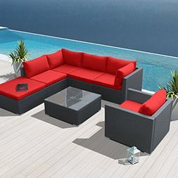 Modenzi 7H-U Outdoor Sectional Patio Furniture Espresso Brow