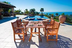 VIFAH V187SET22 Outdoor 5-Piece Wood Dining Set with Rectang