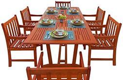 Malibu V232SET9 Eco-Friendly 7 Piece Wood Outdoor Dining Set