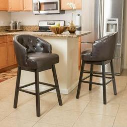Westman 30-Inch Brown Leather Swivel Backed Barstool