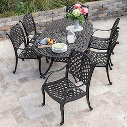 Whitby 7 Pc Cast Aluminum Patio Dining Set 84 X 42 Inch Oval