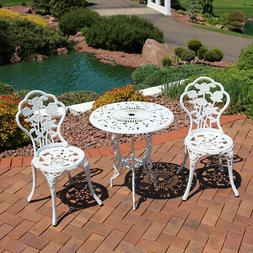 Sunnydaze 3-Piece White Flower Designed Cast Aluminum Bistro