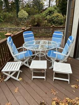 White Patio Furniture Dining Set, 8 Pieces Plus Seat Cushion