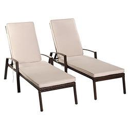 Tangkula Set of 2 Patio Furniture Outdoor Rattan Wicker Loun