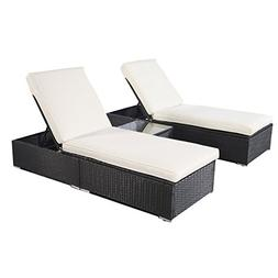 Tangkula 3 Piece Chaise Lounge Chair Set Patio Outdoor Wicke