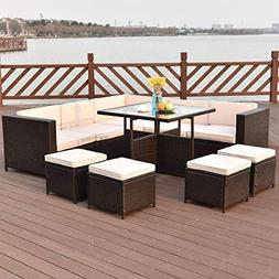 Tangkula Patio Furniture Set 10 Piece Outdoor Garden Wicker