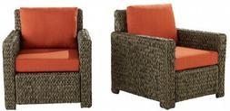Hampton Bay Wicker Outdoor Lounge Chairs Red Cushions Patio
