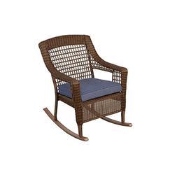 Wicker Patio Furniture Brown Rocking Arm Chair Cushion Sky B