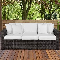 Outdoor Wicker Patio Furniture Sofa 3 Seater Luxury Comfort