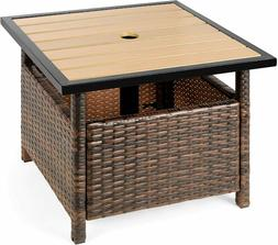 Best Choice Products Wicker Rattan Patio Side Table Outdoor