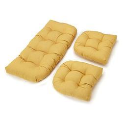 Blazing Needle Designs Outdoor Wicker Settee Cushions w Soli