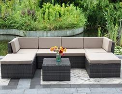 Wisteria Lane Outdoor Patio Furniture Set,7 Piece Rattan Sec
