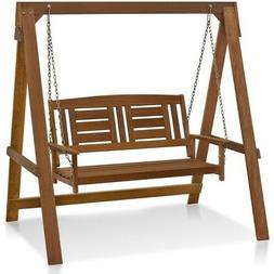 Wood Hanging Swing With Frame Outdoor Patio Furniture Bench