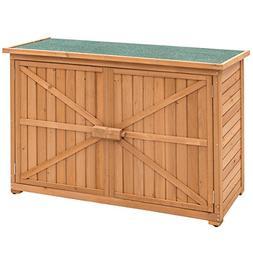 Goplus Wooden Garden Shed Fir Wood Outdoor Storage Cabinet D
