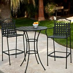 Wrought Iron Bar Height Bistro Set 2 Chairs Outdoor Patio Fu