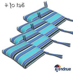 SET OF 4 20W x 19Dx 2.5H Sunbrella Indoor/Outdoor Knife Edge